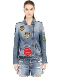 People Patches On Cotton Denim Moto Jacket - Lyst