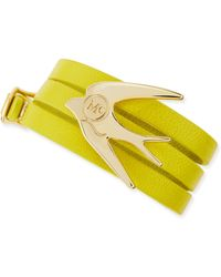 McQ by Alexander McQueen Golden Swallow Leather Wrap Bracelet - Lyst