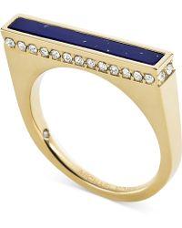 Michael Kors Gold-Tone Lapis Blue Bar Ring - Lyst