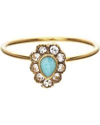 Orelia - Teardrop Enamel Stone Flower Ring - Lyst