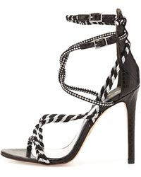 B Brian Atwood Linares Woven Strappy Sandal - Lyst