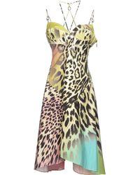 Just Cavalli Knee-Length Dress yellow - Lyst