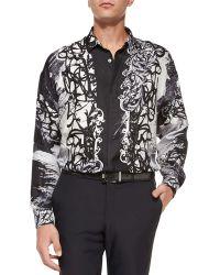 Versace Medusa Graffiti-Print Sport Shirt black - Lyst