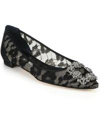 Manolo Blahnik Crystal Lace & Satin Flats - Lyst