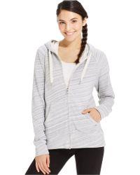 Calvin Klein Zip-Front Drawstring Hoodie gray - Lyst