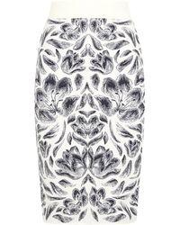 Alexander McQueen Jacquard Pencil Skirt - Lyst