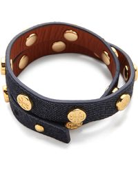 Tory Burch Double-wrap Logo Stud Bracelet - Indigoshiny Brass - Lyst