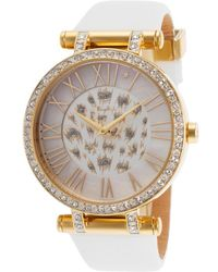 Thierry Mugler Women'S White Genuine Leather White Crystal Encrusted Dial - Lyst
