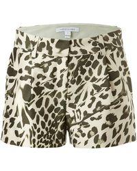 Diane von Furstenberg Wool-Silk Leopard Print Shorts - Lyst