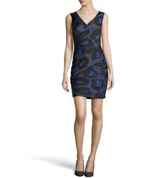 Halston Sleeveless Print Ruched Crepe Dress - Lyst