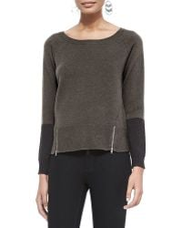 Eileen Fisher Soft Colorblock Top W Zipper Hem - Lyst