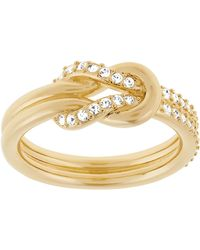 Swarovski Voile Gold Tone and Crystal Knot Ring - Lyst