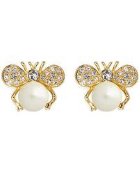 Kenneth Jay Lane Crystal Pavé Ribbon Pearl Earrings - Lyst