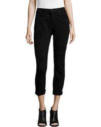 RTA Denim Ryder Obsidian Repair Cropped Skinny Jeans - Lyst