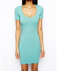 Asos Mini Body Conscious Dress with Short Sleeve - Lyst