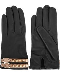 Valentino - Rockstud Leather Gloves - Lyst