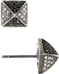 Judith Jack - Sterling Silver And Crystal Pyramid Stud Earrings - Lyst
