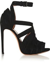 Alaïa Folded Suede Sandals black - Lyst