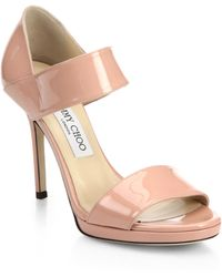 Jimmy Choo Alana Patent Leather Wide-Strap Sandals - Lyst
