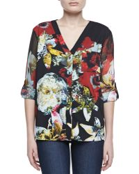 Alice + Olivia Colby Printed Blouse - Lyst