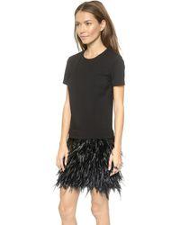 DKNY Short Sleeve Feather Dress - Blackblack - Lyst