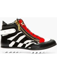 Giuseppe Zanotti Black and Red Zebra Calf_hair Blitz Birel Sneakers - Lyst