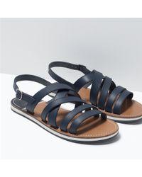 Zara Leather Strappy Sandals - Lyst