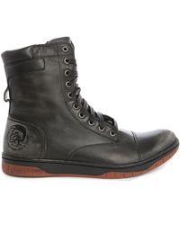 Diesel Butch Zippy High-top Tip Toe Sneakers With Black Side Zip black - Lyst