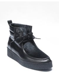 Bottega Veneta Black Leather And Pony Hair Ankle Boots - Lyst