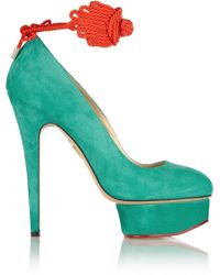Charlotte Olympia Eternally Dolly Embellished Suede Pumps - Lyst