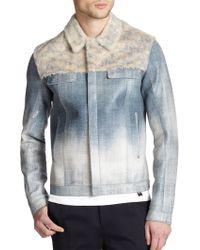 Fendi Rabbit Fur & Denim-Print Leather Jacket - Lyst