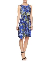 Halston Heritage Printed Asymmetric-Bow Dress - Lyst