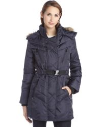 Sam Edelman Navy Quilted Down Faux Fur Trim Belted Coat - Lyst