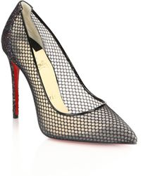 Christian Louboutin | Glitter Mesh and Leather Pumps | Lyst
