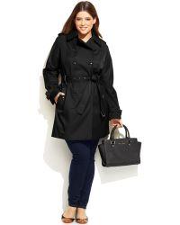 Michael Kors Michael Plus Size Faux-Leather-Trim Trench Coat - Lyst