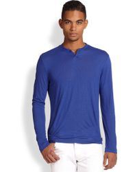 Armani Tonal Striped Tee blue - Lyst