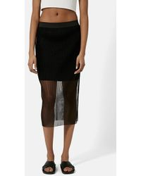 Topshop Pleated Overlay Tube Skirt - Lyst
