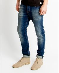 Only & Sons | Mens Slim Fitted 5-pocket Jeans In Medium Blue Denim | Lyst