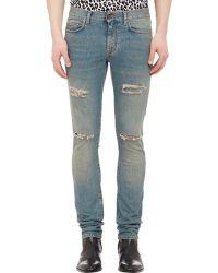 Saint Laurent Blue Dirty-Wash Jeans - Lyst