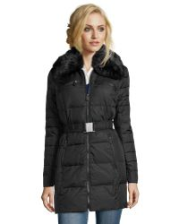DKNY | Black Quilted Nylon Belted 3/4 Length Down Jacket | Lyst