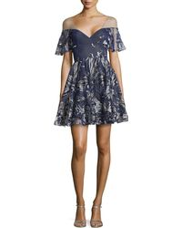 Notte by Marchesa Off-The-Shoulder Illusion Floral-Tulle Dress - Lyst