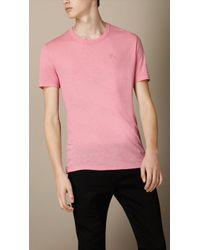 Burberry Linen Blend Jersey T-Shirt - Lyst