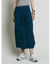 Free People Womens Stella Slouchy Skirt blue - Lyst