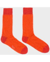 Paul Smith | Men's Orange Kid Mohair Socks | Lyst