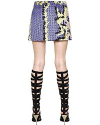 Versace Printed Duchesse Satin Mini Skirt - Lyst
