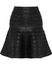 Hervé Léger Fluted Coated Bandage Mini Skirt - Lyst
