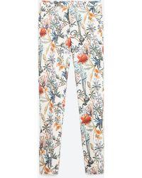 Zara   Printed Trousers   Lyst