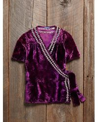 Free People Vintage Velvet Wrap Top - Lyst