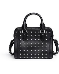 Alexander McQueen 'Padlock' Small Studded Leather Tote - Lyst