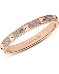 Michael Kors Rose Gold Tone Pave Pyramid Bangle Bracelet - Lyst